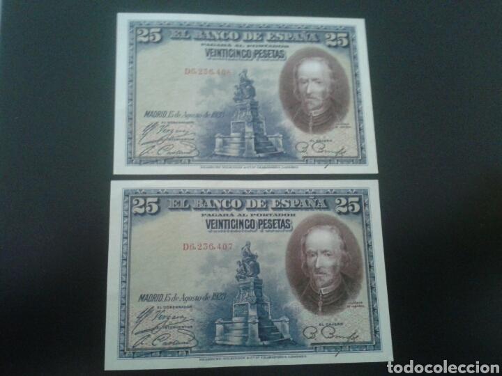 PAREJA CORRELATIVA DE BILLETES DE 25 PESETAS DE 1928 (Numismática - Notafilia - Billetes Españoles)