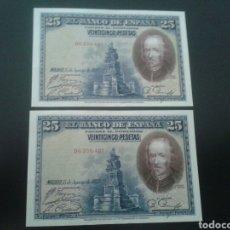 Billetes españoles: PAREJA CORRELATIVA DE BILLETES DE 25 PESETAS DE 1928. Lote 77339721