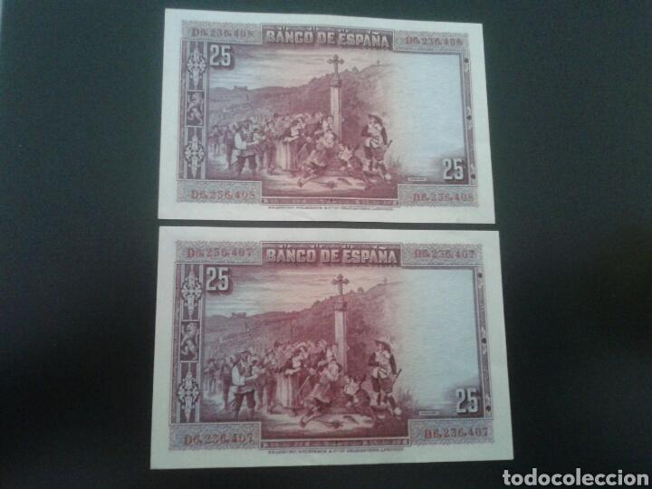 Billetes españoles: Pareja correlativa de billetes de 25 pesetas de 1928 - Foto 2 - 77339721