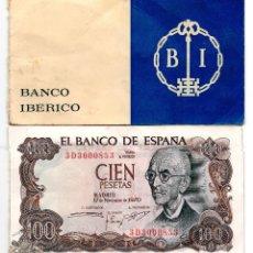 Billetes españoles: TALONARIO DEL BANCO IBERICO CON 10 BILLETES DE 100 PTA. DE 1970 CON NUMERACIÓN CORRELATIVA. . Lote 77411669