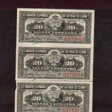 Billetes españoles: BLOQUE DE 4 BILLETES BANCO ESPAÑOL DE CUBA AÑO 1897 CALIDAD PLANCHA LOS DE LAS FOTOS. Lote 78399265