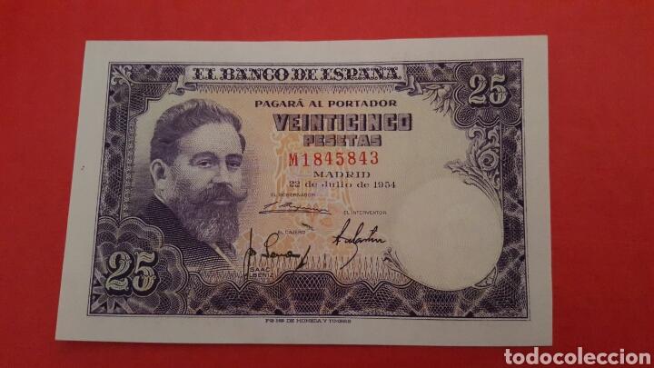 25 PESETAS DE 1954 SC SERIE M1845843 (Numismática - Notafilia - Billetes Españoles)