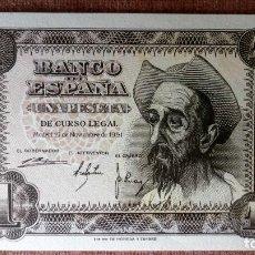 Billetes españoles: DOS BILLETES CORRELATIVOS 1 PESETA , NOVIEMBRE 1951 - PLANCHA, SERIE A. Lote 79659785