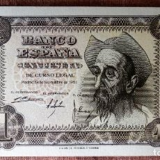 Billetes españoles: DOS BILLETES CORRELATIVOS 1 PESETA , NOVIEMBRE 1951 - PLANCHA, SERIE A. Lote 79660733
