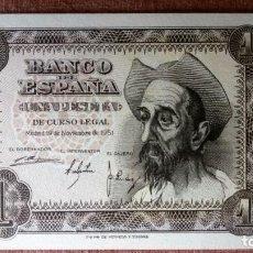 Billetes españoles: DOS BILLETES CORRELATIVOS 1 PESETA , NOVIEMBRE 1951 - PLANCHA, SERIE A. Lote 79661457