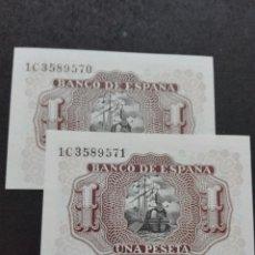 Billetes españoles: PAREJA CORRELATIVA UNA PESETA PLANCHA JULIO 1953. Lote 79881558
