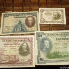 Billetes españoles: LOTE DE 4 BILLETES. Lote 80804560