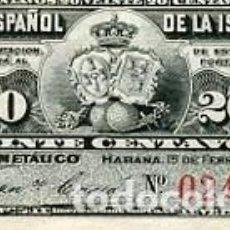 Billetes españoles: BILLETE ANTIGUO DE CUBA ESPAÑOLA AÑO 1897 20 CENTAVOS BILLETE MUY PEQUEÑO BANCO ESPAÑOL DE CUBA. Lote 80895983