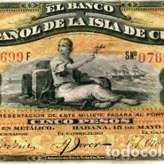 Billetes españoles: BILLETE DEL BANCO ESPAÑOL DE LA ISLA DE CUBA 5 CINCO PESOS AÑO 1896 PRECIOSO PLATA . Lote 80896031