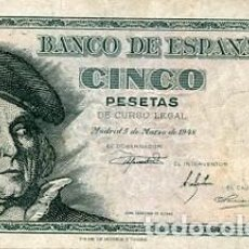 Billetes españoles: BILLETE ANTIGUOS BILLETES ANTIGUOS ESPAÑOLES DE ESPAÑA A BUEN PRECIO 5 CINCO PESETAS AÑO 1948 . Lote 80896387