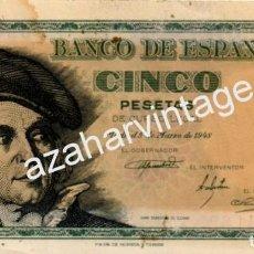 Billetes españoles: BILLETE , 5 PESETAS , 1948 , SERIE F , ORIGINAL . Lote 80937576