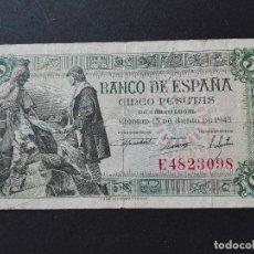 Billetes españoles: 5 PTS EMISION JULIO 1945 -MBC. Lote 81692668