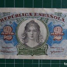 Billetes españoles: BILLETE 2 PESETAS BANCO ESPAÑA REPÚBLICA ESPAÑOLA MINISTERIO HACIENDA AÑO 1938 PUENTE TOLEDO MADRID . Lote 81996344