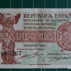 Billetes españoles: BILLETE UNA PESETA 1937 REPÚBLICA ESPAÑOLA BANCO ESPAÑA 1 PESETA CIBELES VICTORIA SAMOTRACIA GUERRA . Lote 81997072