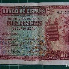 Billetes españoles: BILLETE 10 PESETAS BANCO ESPAÑA. DIEZ. REPÚBLICA ESPAÑOLA. GUERRA CIVIL. AÑO 1935. SIN SERIE.. Lote 81998536