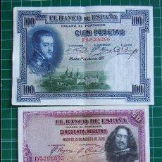 Billetes españoles: LOTE 3 BILLETES BANCO ESPAÑA GUERRA CIVIL REPÚBLICA ESPAÑOLA 1925 1928 25, 50 Y 100 PESETAS VER FOTO. Lote 107551195