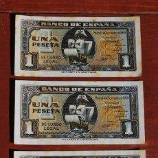 Billetes españoles: TRIO DE BILLETES DE 1 PESETA DE 1940 - CORRELATIVOS - SIN CIRCULAR - SERIE A - BILLETE. Lote 82961672