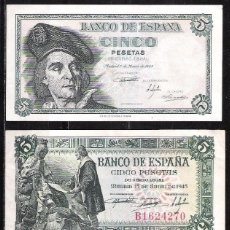 Billetes españoles: 3 BILLETES 5 PESETAS 1943/45/48 EBC-. Lote 83126136