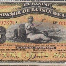 Billetes españoles: BILLETES ESPAÑOLES - ALFONSO XIII - ISLA DE CUBA - 5 PESOS 15-5-1896 - SERIE F (MBC+). Lote 83806620