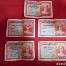Billetes españoles: LOTE DE CINCO BILLETES DE DIEZ PESETAS AÑO 1935 - EPOCA REPUBLICA -. Lote 85068804