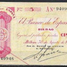 Billetes españoles: 5 PESETAS 1936 SERIE A BILBAO EBC. Lote 85550048