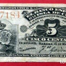 Billetes españoles: BILLETE 5 CENTAVOS 1896 , EPOCA COLONIAL, BANCO ESPAÑOL ISLA DE CUBA, MBC+ , ORIGINAL , T184. Lote 97328415