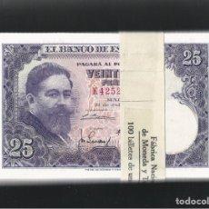 Billetes españoles: PAREJA CORRELATIVA 25 PESETAS 1954 SERIE K TACO PLANCHA LUJO REF7448. Lote 90449845