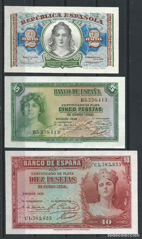 TRIO 3 BILLETES 2,5,10 PESETAS 1935 / 1938 PLANCHA TACOS REF 7436 (Numismática - Notafilia - Billetes Españoles)