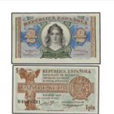 Billetes españoles: TRIO 3 BILLETES 50 CENT, 1,2,PESETAS 1937 / 1938 PLANCHA DE TACOS REF 864:. Lote 89848832