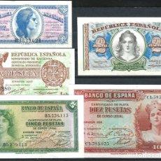 Billetes españoles: 5 BILLETES 50 CENT ,1,2,5,10 PESETAS 1935 /1938 PLANCHA DE TACOS REF 853. Lote 99302540