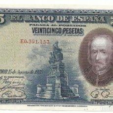 Billetes españoles: 25 PESETAS ESPAÑA ALFONSO XIII DURANTE LA II REPUBLICA 1928 CALDERON DE LA BARCA SC PLANCHA . Lote 86581072