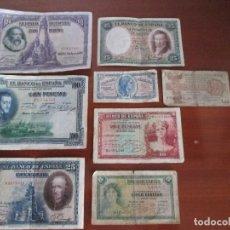 Billetes españoles: LOTE DE 8 BILLETES ESPAÑOLES. Lote 86947300