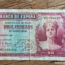 Billetes españoles: BILLETE DIEZ PESETAS DE 1935. Lote 87020724