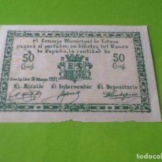 Billetes españoles: 50 CENTIMOS, 1931, TOTANA, MURCIA, BILLETE LOCAL, VER FOTOS.. Lote 96397596