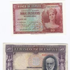 Billetes españoles: DOS BILLETES DE 1935. Lote 87423200