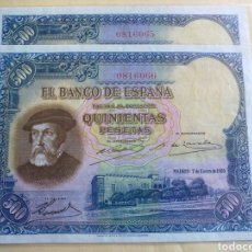 Billetes españoles: PAREJA 500 PTS.1935 SC. Lote 87431128