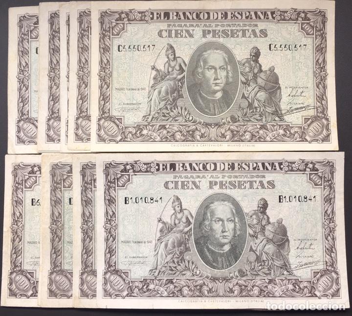Billetes españoles: 100 pesetas de 1940 Colón muy bonitos ref 754 - Foto 3 - 97405808