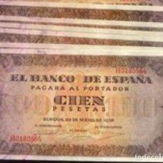 Billetes españoles: 100 PESETAS DE 1938 BURGOS MUY BONITOS REF 88549. Lote 90352180