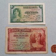 Billetes españoles: X2 BILLETES REPUBLICA ESPAÑOLA 5 PESETAS Y 1 PESETAS EMISION 1935. AUTÉNTICOS.. Lote 87545228