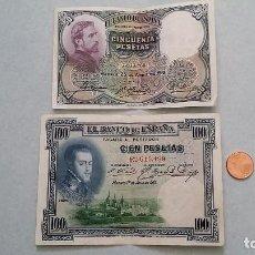 Billetes españoles: X2 BILLETES REPUBLICA ESPAÑOLA 50 PESETAS Y 100 PESETAS 1931 Y 1925. AUTÉNTICOS.. Lote 87545640