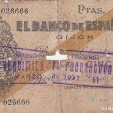 Billetes españoles: 1936 1937. GIJON 5 PESETAS. BILLETE DEL BANCO DE ESPAÑA. GUERRA CIVIL. Lote 87547467