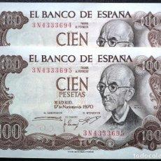 Billetes españoles: LOTE DE DOS BILLETES DE 100 PESETAS DE 1970. DE PLANCHA, CORRELATIVOS, SERIE 3 N. Lote 87683788