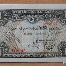 Billetes españoles: OPORTUNIDAD DIFICIL BILLETE 10 PESETAS BANCO ESPAÑA EN BILBAO 1937 GUERRA CIVIL FIRMA BANCO CENTRAL. Lote 87883792
