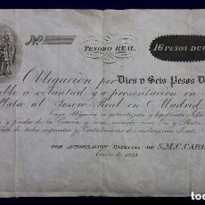 Billetes españoles: RARO BILLETE DE ESPAÑA. REINADO DE CARLOS V. 16 PESOS DUROS. EMISION ENERO 1835. TESORO REAL. MADRID. Lote 88146000
