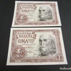 Billetes españoles: 1 PESETA DE 1953 PAREJA CORRELATIVA SERIE Q 235/236 PLANCHA. Lote 88187332