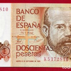 Billetes españoles: BILLETE 200 PESETAS 1980 , PLANCHA , SERIE K , ORIGINAL , T810. Lote 88325124