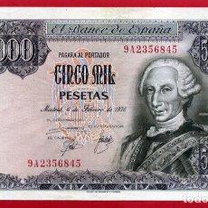 Billetes españoles: BILLETE 5000 PESETAS 1976 , PLANCHA SIN CIRCULAR , OJO SERIE ESPECIAL 9A , ORIGINAL , T845. Lote 88333144