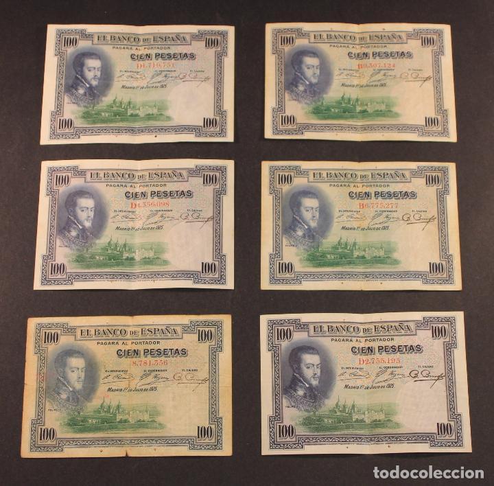 6 BILLETES DE CIEN PESETAS BANCO DE ESPAÑA, MADRID, 1 DE JULIO DE 1925 FELIPE II - BATALLA ESCORIAL (Numismática - Notafilia - Billetes Españoles)