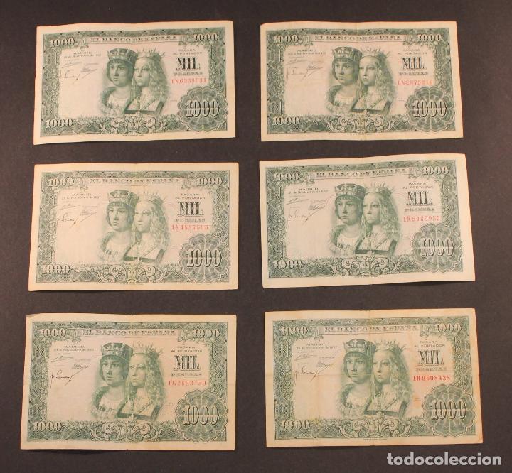 6 BILLETES DE MIL PESETAS BANCO DE ESPAÑA, MADRID, 29 DE NOVIEMBRE DE 1957 - REYES CATÓLICOS (Numismática - Notafilia - Billetes Españoles)