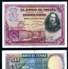 Billetes españoles: 50 PESETAS DE 1928 SELLO FRANQUISTA SALUDO A FRANCO ¡ARRIBA ESPAÑA! Y BUSTO DE FRANCO VIOLETA - Nº11. Lote 115260978